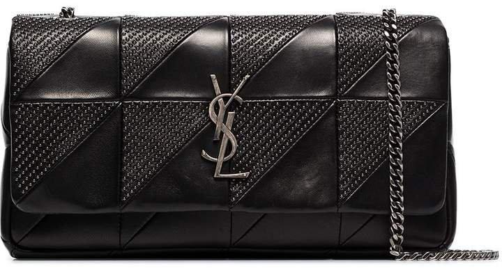 black Jamie studded baguette leather shoulder bag