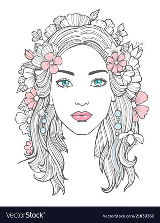 Beautiful woman portrait mysterious drawing Vector Image