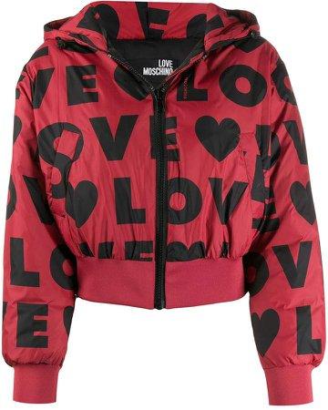 logo print puffer jacket