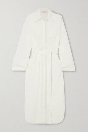 Belted Linen-blend Shirt Dress - Ecru