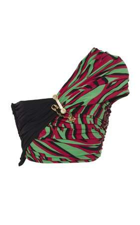 One Shoulder Crepe Crop Top by Versace | Moda Operandi