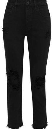 Zip-detailed Distressed Mid-rise Straight-leg Jeans