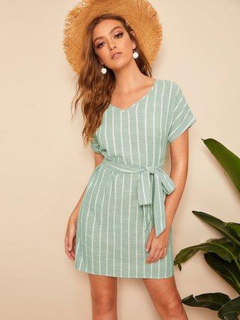 V Neck Vertical Striped Belted Dress | SHEIN