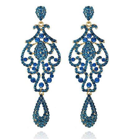Amazon.com: Large Pageant Austrian Crystal Rhinestone Chandelier Dangle Earrings Prom E2090 (Teal): Jewelry