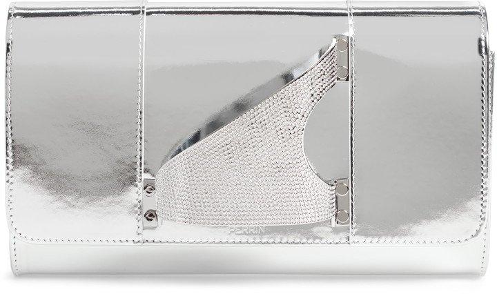 L'Eiffel Crystal Embellished Leather Clutch