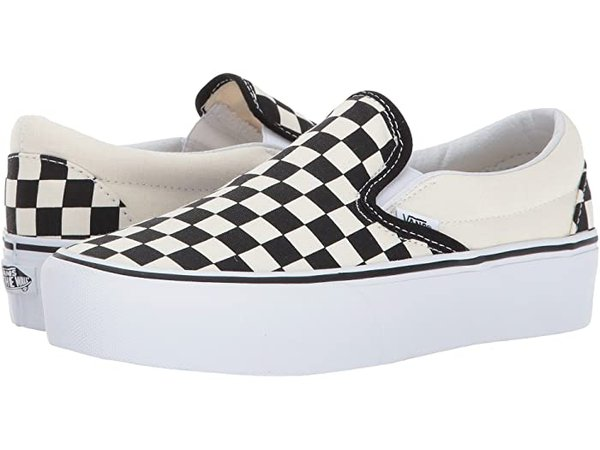 Vans Classic Slip-On Platform Checkered Black/White   Zappos.com
