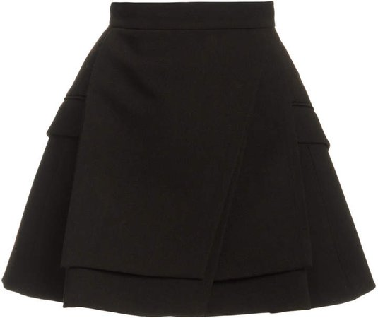 Brandon Maxwell A-Line Wool Silk Mini Skirt