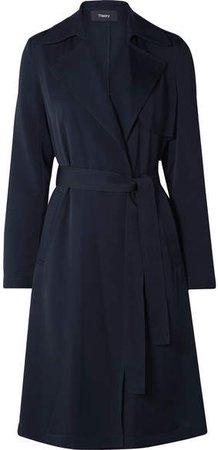 Oaklane Silk Trench Coat - Midnight blue