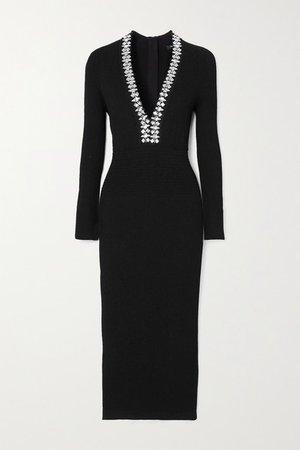 Crystal-embellished Ribbed-knit Midi Dress - Black