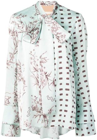 Ssheena pussy bow printed blouse