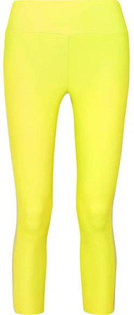 Cropped Striped Leather Leggings - Yellow