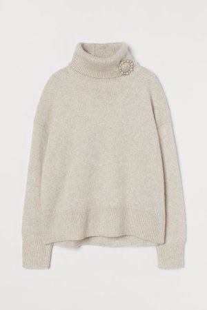 Polo-neck jumper with a brooch - Light greige - Ladies   H&M GB