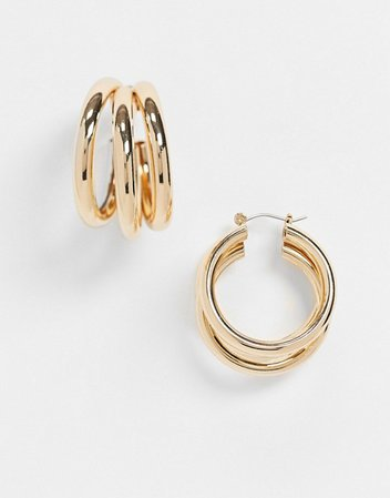 Topshop twist triple hoop earrings in gold | ASOS