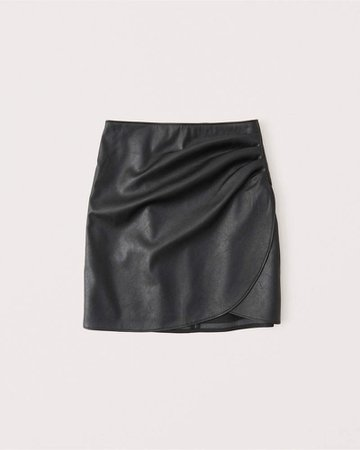 Women's Vegan Leather Ruched Mini Skirt | Women's Bottoms | Abercrombie.com