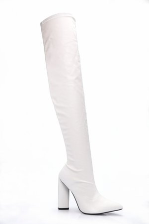 So Serious Over The Knee Boot - White