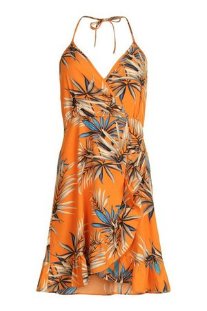 Halterneck Frill Skater Dress | boohoo orange