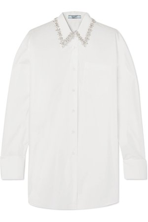 Prada | Oversized crystal-embellished cotton-poplin shirt | NET-A-PORTER.COM