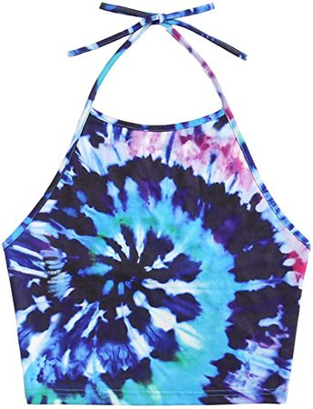 Romwe Women's Sexy Spiral Tie Dye Multicolor Print Backless Tie Halter Top at Amazon Women's Clothing store