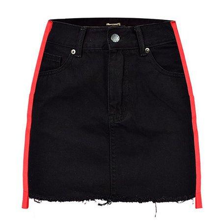 Gothic Grunge Red Stripes Black Denim Mini Skirt – ROCK 'N DOLL