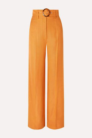 Lily Belted Woven Wide-leg Pants - Orange