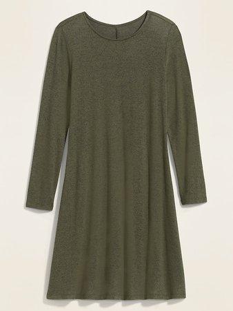 Plush-Knit Long-Sleeve Swing Dress for Women | Old Navy