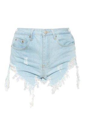 Light Blue Wash Thigh Rip Denim Short | Denim | PrettyLittleThing