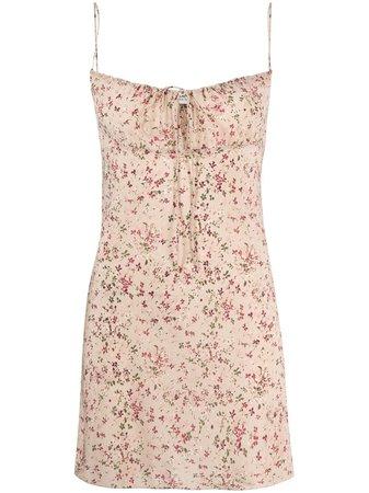 Saint Laurent floral-print spaghetti-strap dress