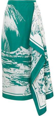 Leilani Draped Printed Silk-twill Midi Skirt - Emerald
