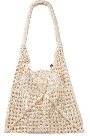 Nannacay   Luna leather-trimmed crocheted cotton shoulder bag   NET-A-PORTER.COM