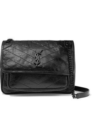 SAINT LAURENT | Niki medium quilted crinkled glossed-leather shoulder bag | NET-A-PORTER.COM