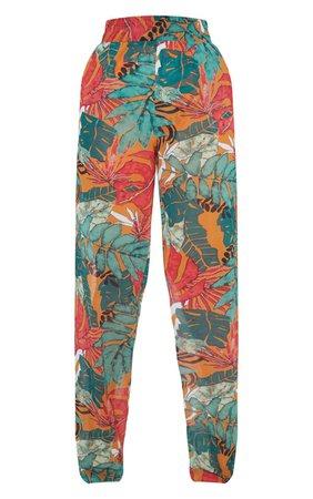 Orange Big Leaf Wide Leg Beach Trousers | PrettyLittleThing USA