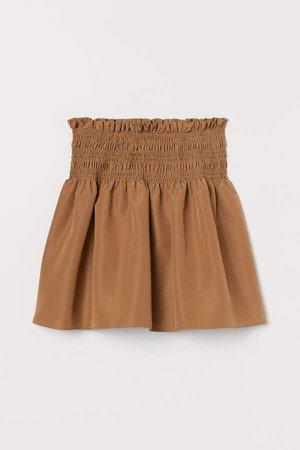 Smocked-waist Skirt - Beige