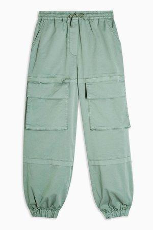 Khaki Cargo Pocket Woven Sweatpants | Topshop