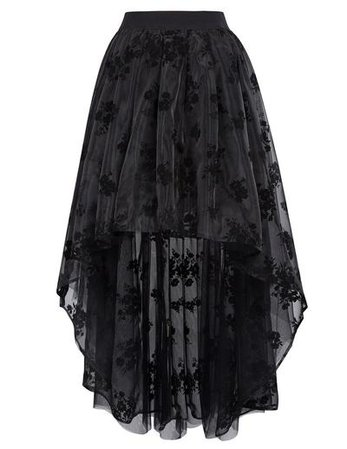 Victoria Gothic Lace Embroidered Four Layers Design High-Low Organza Skirt