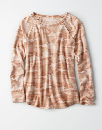 AE Long Sleeve Waffle T-Shirt, Rust | American Eagle Outfitters