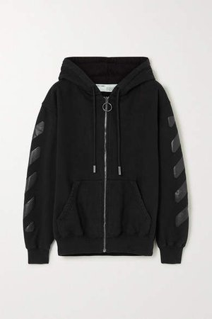Off White Printed Cotton-jersey Hoodie - Black