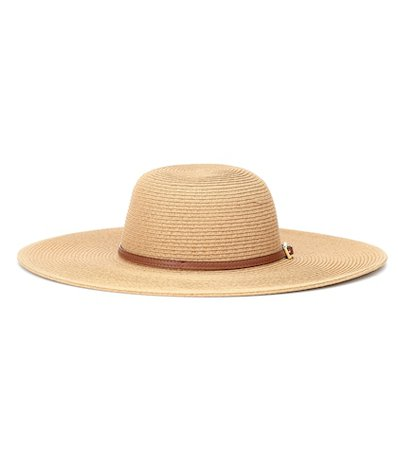 Jemima leather-trimmed hat