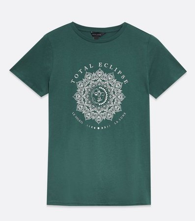 Dark Green Total Eclipse Sun Moon Logo T-Shirt | New Look
