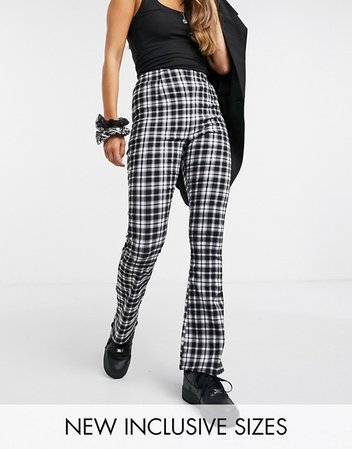 COLLUSION bengaline flare in black and white check | ASOS