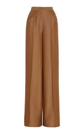Creased Wool-Silk Twill Wide-Leg Pants by Brandon Maxwell | Moda Operandi