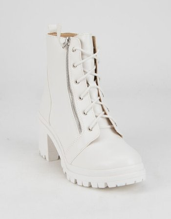 SODA Lug Sole Side Zips Womens White Booties - WHITE - 365275150 | Tillys