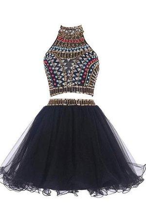 Black Two Piece Beaded Rhinestone Dress