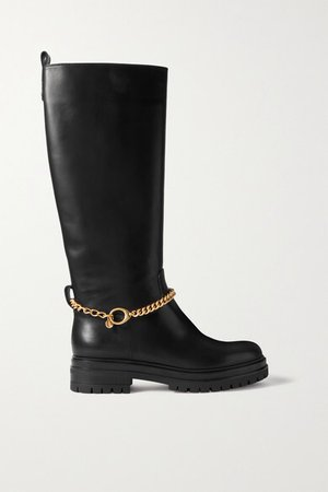 Chain-embellished Leather Knee Boots - Black