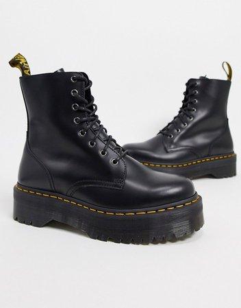 Dr Martens jadon 8-eye platform boots in black | ASOS