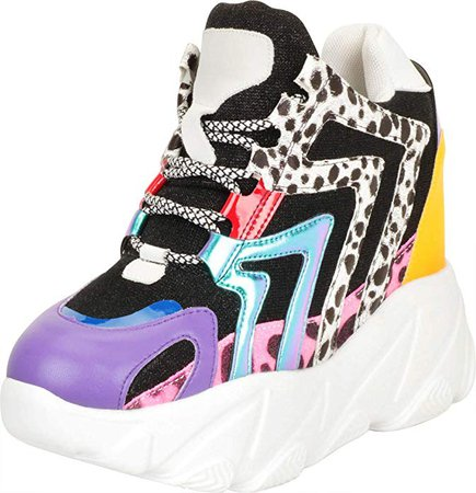 Amazon.com | Cambridge Select Women's 90s Ugly Dad Rave Hidden Wedge Extra High Chunky Platform Fashion Sneaker | Fashion Sneakers