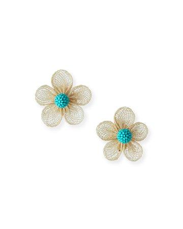 Sachin & Babi Straw Flower Clip-On Earrings | Neiman Marcus