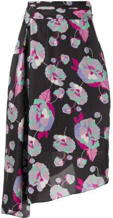 Draped Floral-Print Skirt