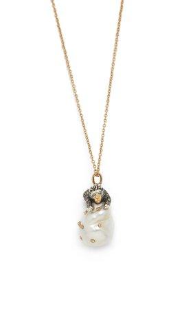 Bibi van der Velden Lion on Pearl Necklace