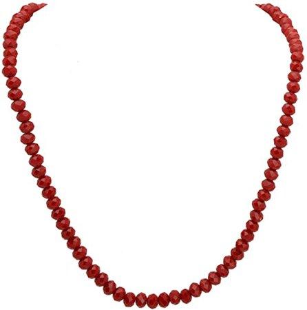 Amazon.com: Zephyrr Stylish Red Beaded Strand Necklace Handmade Casual Jewelry For Women: Jewelry