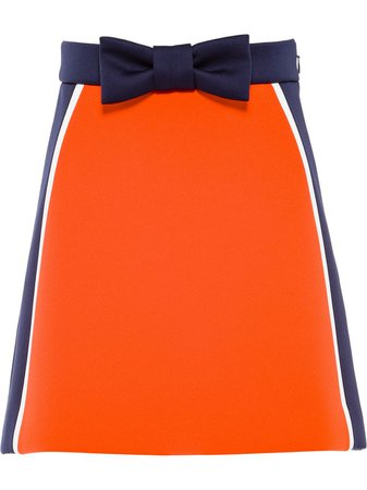 Shop orange Miu Miu bow-detail colour-block skirt with Express Delivery - Farfetch